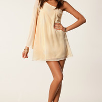 Cream One-Shoulder Chiffon Trumpet-Sleeve Mini Dress