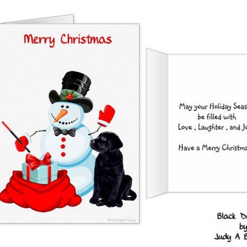 Black Lab Christmas Cards 10 - Labrador Christmas Cards - Christmas In July - Black Lab Art 12 - Black Dog Christmas Card -Black Lab Santa -