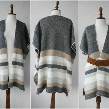 Women ponchos, Poncho, Oversize Scarf, Woman Gray coat