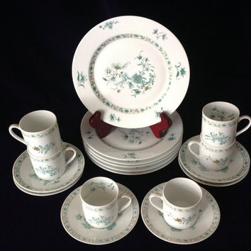 Vintage Limoges - Elegant Bernardaud Pekin - 6 demi cup, saucer & dessert plates - Wedding/Birthday/Engagement/Shower Gift