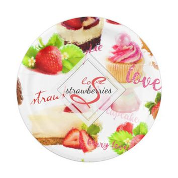 Watercolor Strawberry Sweets Love Monogram Paper Plate