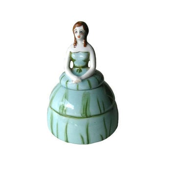 RARE Noritake Lady Ink Well - Figural Inkwell Pot - Hand Painted Lady - Woman Ink Well - Desk Accessory - Home Decor