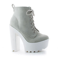 Gru Ice By Soda, Ice Lace Up Lug Sole Platform High Chunky Block Heel Ankle Booties