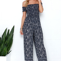 Trail Traveler Navy Blue Paisley Print Jumpsuit
