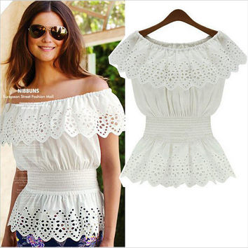 Hot Sale Summer Lace Patchwork Chiffon Tops Shirt [6281474180]