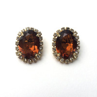 Large Clip On Earrings - Topaz / Amber Cut Glass With Clear Rhinestones - Vintage 1960s Earrings - Gift Wrapped