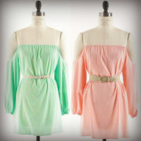 Pretty Off Shoulder Peasant Pixie Dress Open Sleeves Boho Chic Fashion Mint Pink