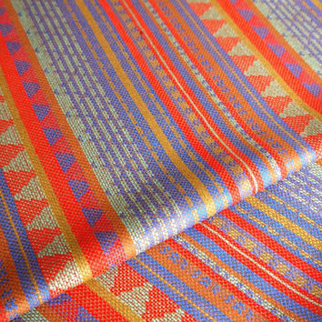 South American Fabric, Peruvian Fabric, Woven, Red Blue Geo Stripes, 1 Yard