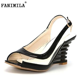 FANIMILA Women High Heel Sandals Lady Gladiator Patent Leather Wedges Peep Open Toe Summer Sandals Female Shoes P3319 Size 34-39