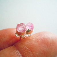 Pink Sapphire Stud Earrings - Tiny Raw Rough Stone - Artisan Handcrafted Sterling Silver Posts