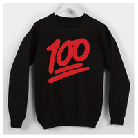 Keep it 100 emoji black crew neck sweater