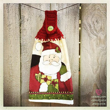 Crochet Santa Towel Topper~ Ready to ship~FREE SHIPPING