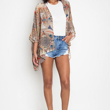 Whimsical-Tribal Kimono Cover Up Cardigan