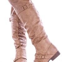 TAUPE SLOUCHY FAUX LEATHER OVER THE KNEE BUCKLE STRAP FLAT BOOTS
