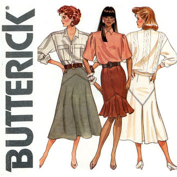 Womens Skirt Pattern Uncut Butterick 5908 Flounce Hem Sheath, Yoked Flared, Pleated Day or Evening Easy to Sew 1980s Vintage Sewing Patterns