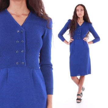 70s ST JOHN Knit Dress Royal Blue Midi Long Sleeve 1970's Vintage Minimalist Chic Designer Clothing Womens Size XS Small