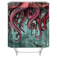 Big Octopus Folding Waterproof Shower Curtains For Bathroom