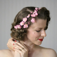 "Cherry Blossom Headpiece, Pink Hair Accessory, Spring Flower Crown, Vintage Floral Wreath Fascinator - ""Spring's Sweet Kiss"""