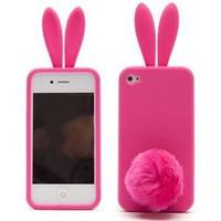 Lovely Rabbit Silicone Bunny Case For iPhone 5 with Furry Tail - Hot Pink