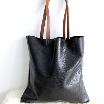 Supple Black Leather Tote Bag - Simple Black Leather Bag - Leather Laptop Bag