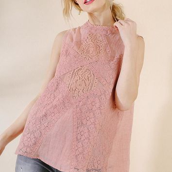 Umgee Pink Lace Tank Top