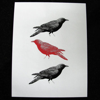 Spooky Crows Mixed Media Illustration Art Print for Home Wall Decor