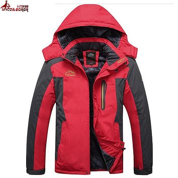 UNCO&BOROR Plus Size 7XL 8XL 9XL Winter Jacket Men Thick Warm Waterproof  Parkas Male Velvet Hooded Outerwear snow Mountain Coat