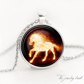 Horse necklace Horse pendant Horse jewelry Fire horse necklace fire pendant horse charm glass pendant