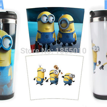 New 2016 1PCS Cute Despicable Me Double Wall Coffee Mug Water Bottles 14oz Insulated Tumbler Travel Cups Tumbler
