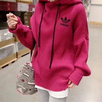 DCCK6HW Adidas' Women Simple Solid Color Loose Long Sleeve Hooded Pullover Sweater Tops