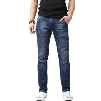 Mens Distressed Ripped Straight Slim Fit Jeans