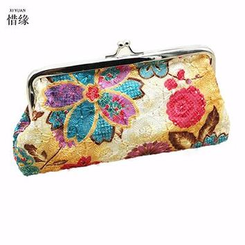 XIYUAN BRAND women boho national embroidery bag embroidered handbags ethnic handbag clutch bags,womens wallets and purses money