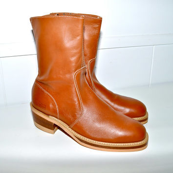 Make an Offer LEHIGH Brown Leather Steel Toe RANCH BOOTS Motorcycle Cowboy Side Zip mens 8D 8 D made in usa