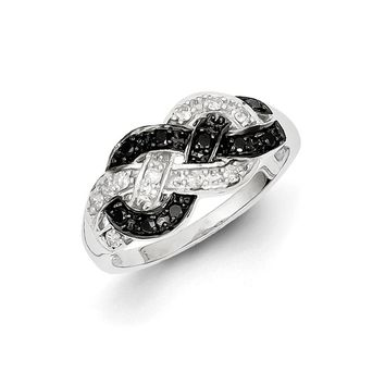 1/4 Ctw Black & White Diamond Woven Tapered Ring in Sterling Silver