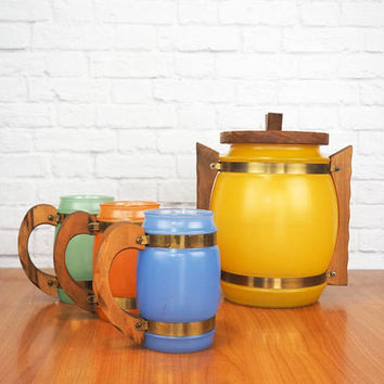 Vintage Multicolor Siesta Ware Snack Set, Beverage Set Frosted Glass Barrel Mugs and Lidded Jar, Container, Ice Bucket