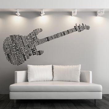 Large Vinyl Decal Wall Sticker Word Clouds Music Notes Shape Guitar (n964)