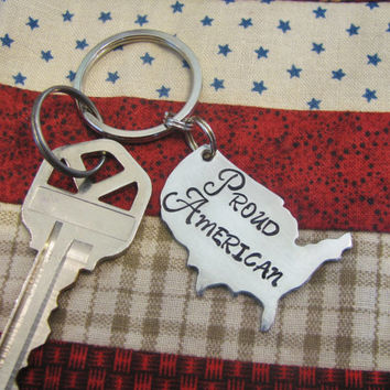 USA Key Chain Proud American Hand Stamped Key Chain Necklace Charm Very FAST Shipping USA Shape