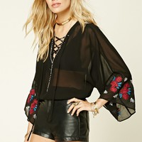 Lace-Up Floral Embroidered Top