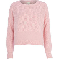 River Island Womens Pink textured angora sweater