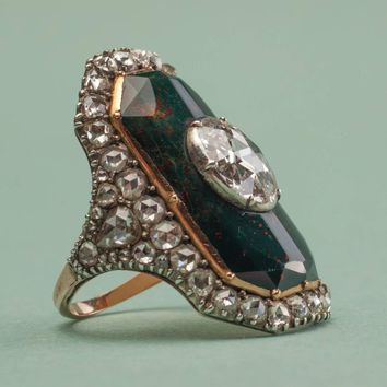Important 18th Century Bloodstone Diamond Silver Gold Ring