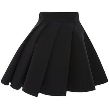 Black Cady Mini Skirt With Pleated Overlay by Fausto Puglisi for Preorder on Moda Operandi