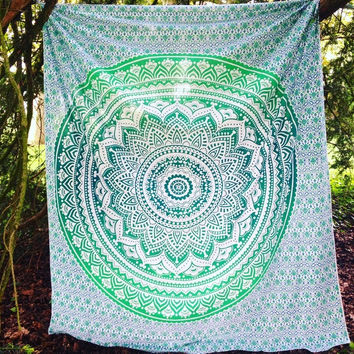 Gracie Green Ombre Bohemian Beach Wall Boho Tapestry
