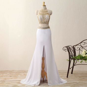 Mermaid Middle Slit White and Gold Crystal Party Dresses Two Piece  Dresses