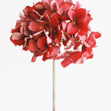 Fake Fall Flower Hydrangea in Red with Dried Look