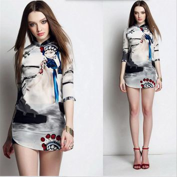 Women's Fashion Winter Vintage Print One Piece Dress [288439926825]