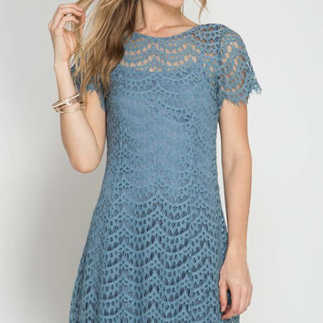 Dusty Blue Scallop Lace Detail Dress