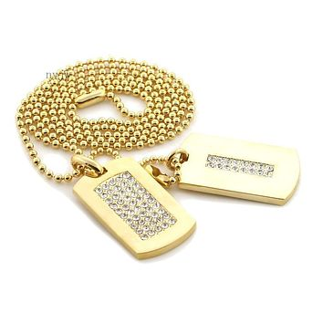 "NEW ICED OUT HIP HOP DOUBLE DOG TAG 18k GOLD FILLED W 30"" BALL CHAINS DTC002GS"