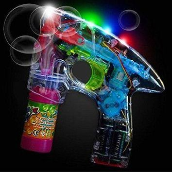 Party Favors B/O Flashing LED Bubble Gun with Lights Plus Sound Affects- 5 pack