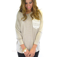 Manchester Oatmeal Lace Pocket Top