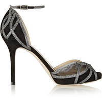 Jimmy Choo - Mambo textured-lamé and suede sandals